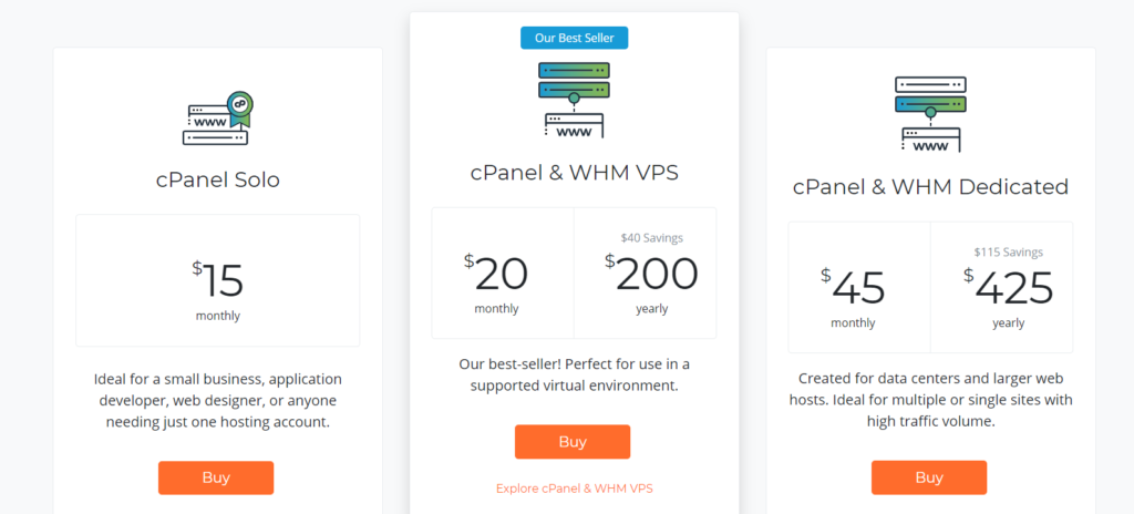 web hosting cPanel pricing old