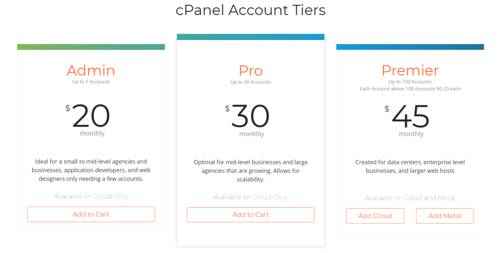 web hosting cPanel pricing